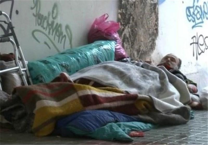 تظاهرات بی خانمان های یونان در اعتراض به وضعیت مالی