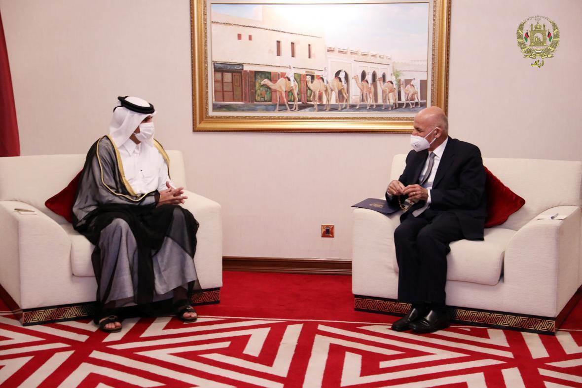 گفتگوی اشرف غنی با نخست وزیر قطر درباره فرایند صلح و روابط دو جانبه