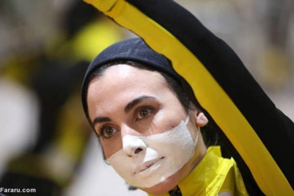 (تصاویر) ابتکار عجیب زنان بدنساز در تهران؛ نقاشی به جای ماسک